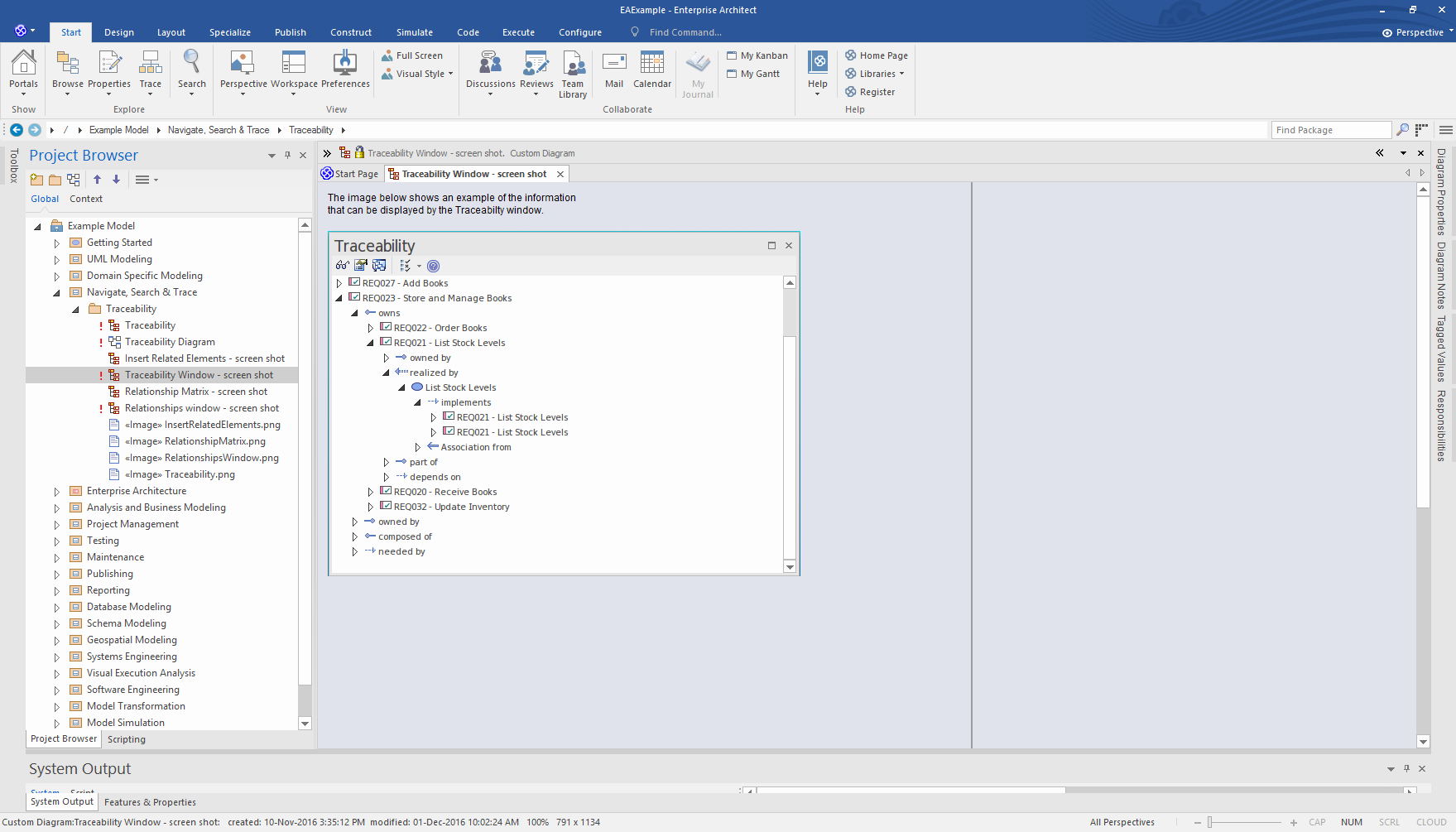 Enterprise Architect Professional Edition: Traceability Window